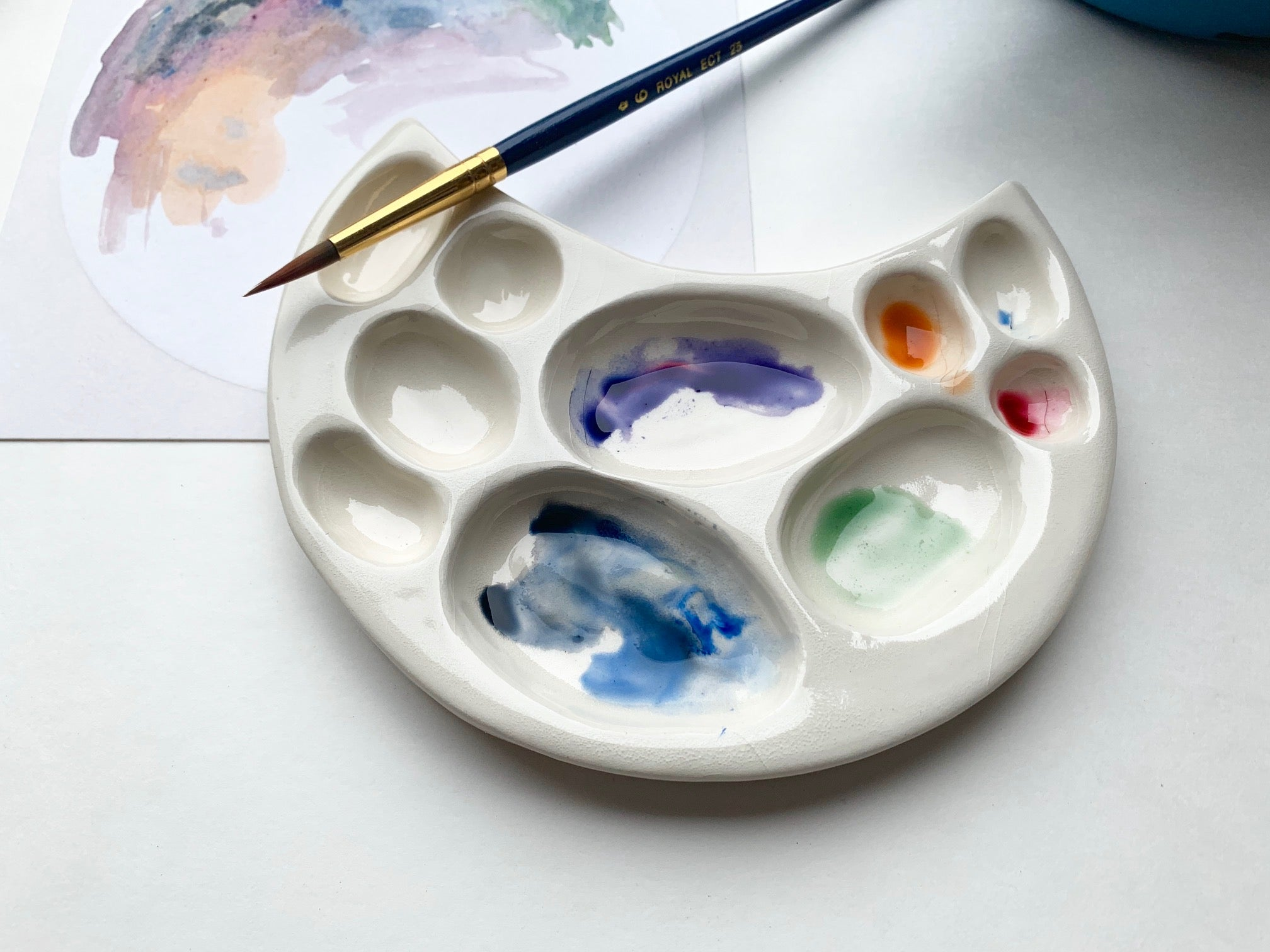 white moon crater watercolor palette