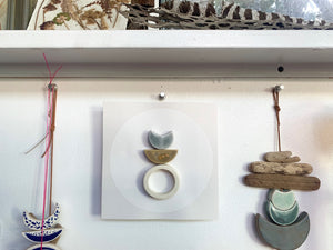 one of a kind, symbiotic ceramic wall square hanging