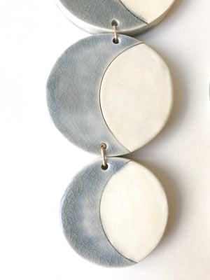 SOLD - triple silver sound of the crescent moon ceramic vertical wall piece