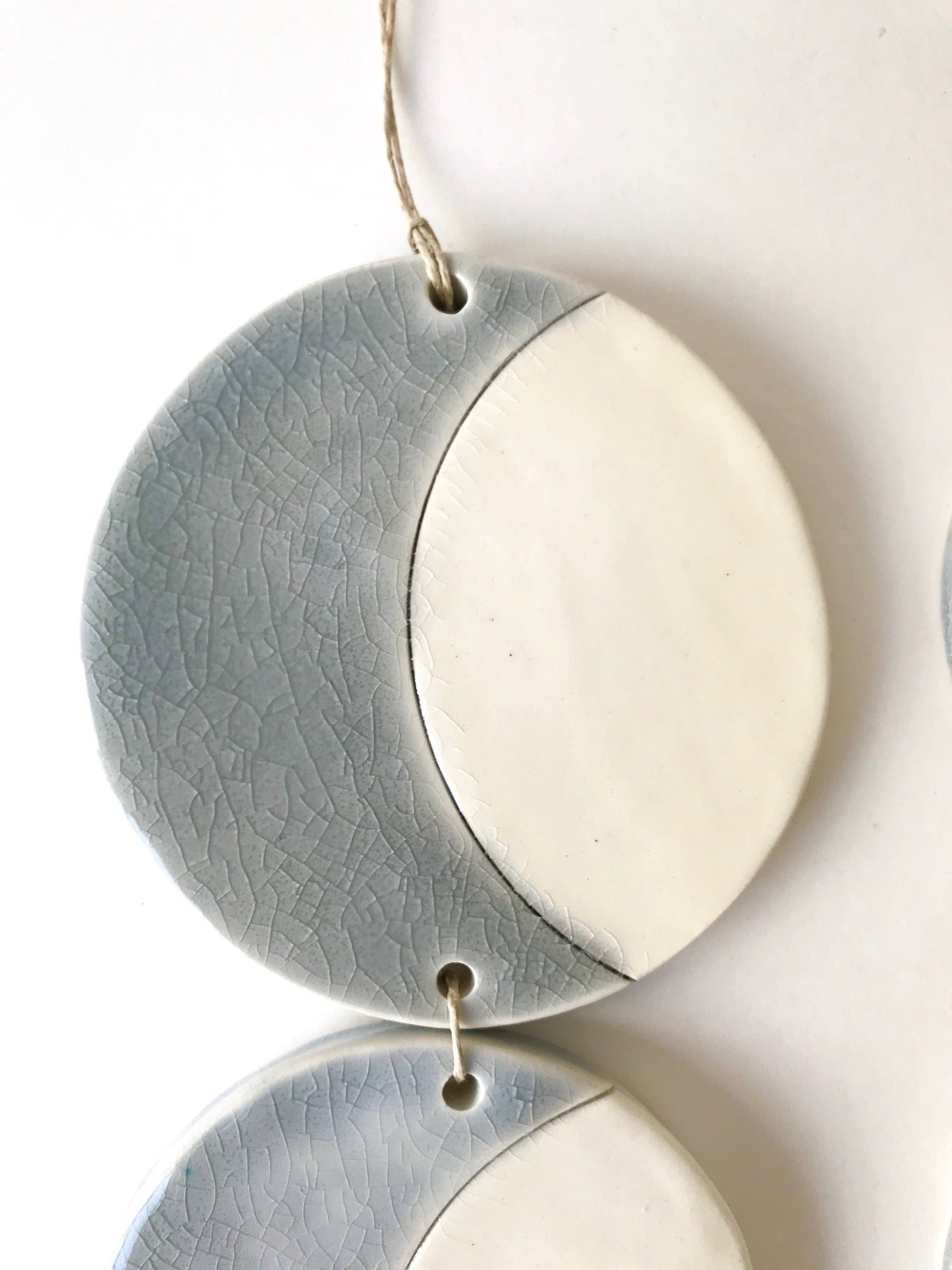 triple silver sound of the crescent moon ceramic vertical wall hanging