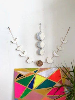 sun loves moon, horizontal, long weekend edition moon phases wall hanging