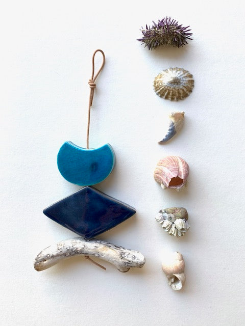 petite, one of a kind 'certain like the sea' ceramic wall hanging