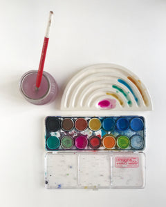 white rainbow watercolor palette