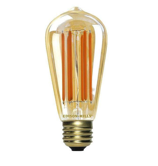 Edison ST58 Antique LED Filament Light Bulb 6W, 60 Watt Equal, 2200K, Dimmable, Long Filaments