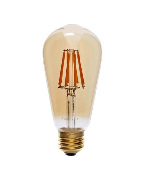 Edison ST58 Antique LED Filament Light Bulb 6W, 60 Watt Equal, 2200K, Dimmable, Short Filaments