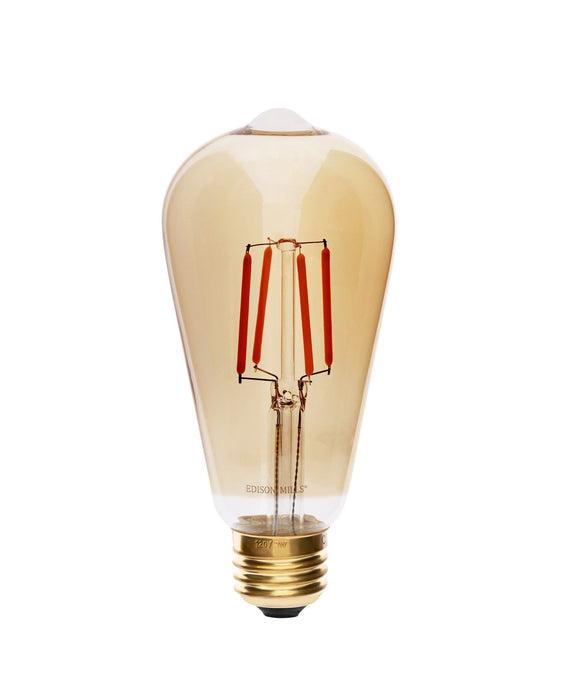 Edison Mills LED ST64 Antique LED Filament Bulb 3W, 40 Watt Equal, 2200K, Dimmable