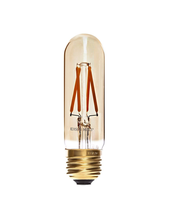 mini LED Radio T9 Antique LED Filament Bulb 2W, 40 Watt Equal, e26 Medium Base, 2200K Warm White, Dimmable