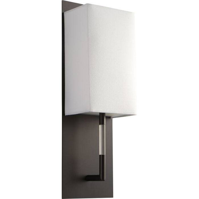 "Oxygen Lighting 37-564-122 Oiled Bronze / White Cotton Epoch 16"" Tall ADA Single Light Commercial 277V LED Bathroom Sconce with White Acrylic Shade"