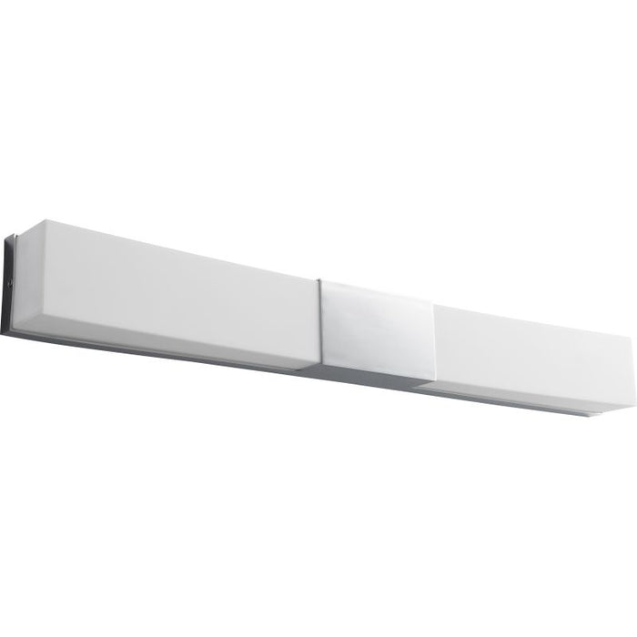 "Oxygen Lighting 37-582-14 Polished Chrome Crescent 31"" Wide ADA 2 Light Commercial 277V Reversible Mount Single LED Bath Bar with Acrylic Shade"