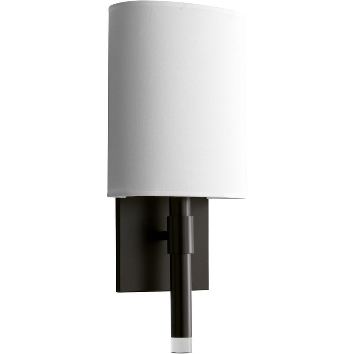 "Oxygen Lighting 37-587-195 Old World / White Cotton Beacon 17"" Tall ADA Single Light Commercial 277V LED Bathroom Sconce with Acrylic Half Cylinder Shade"
