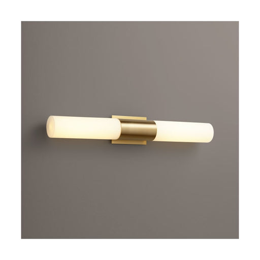 "Oxygen Lighting 37-588-140 Aged Brass / Matte Opal Shade Single Light 30-3/4"" Wide Integrated LED Bath Bar - ADA Compliant"