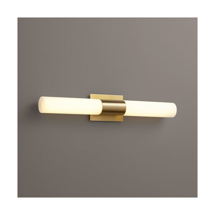 "Oxygen Lighting 37-590-140 Aged Brass / Matte Opal Shade Single Light 27"" Wide Integrated LED Bath Bar - ADA Compliant"