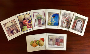 Notecard Pack of a Variety of 8 Watercolors with Envelopes