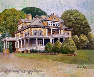 """Annaburg Manor"" Manassas, Virginia c. 1892 - Giclée Prints of Original Watercolor Painting"