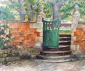 """Green Gate"" Original Watercolor Painting"