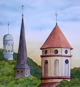 """The Steeples of Loire"" Original Watercolor"