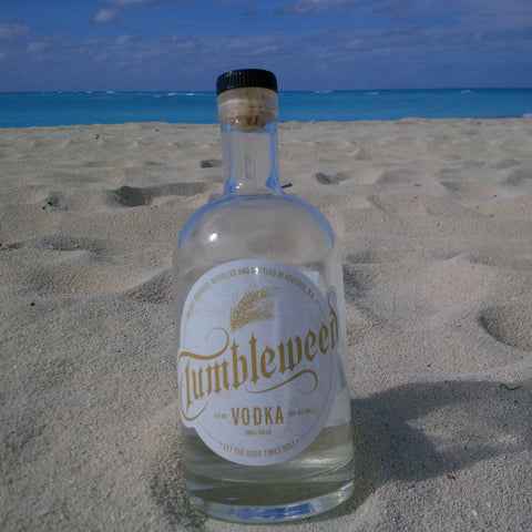 Tumbleweed Vodka on the beach in the Bahamas!