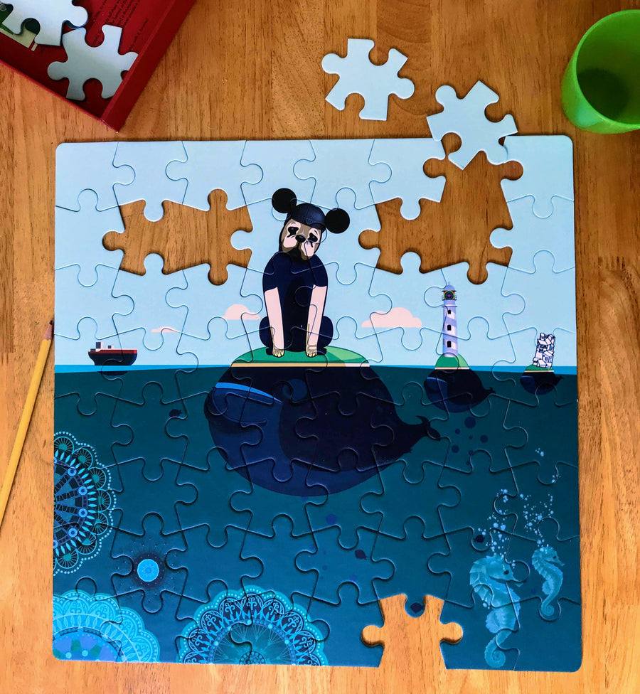 The Blue Puppy 64 piece Puzzle