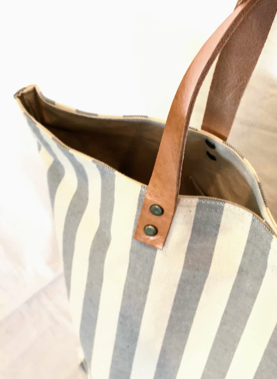 Grey Stripes Handmade Shoulder/Tote Bag