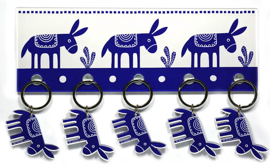 Keyholder with Donkey design. Made of Plexiglass. with wall mounting hardware included  Made in Greece.