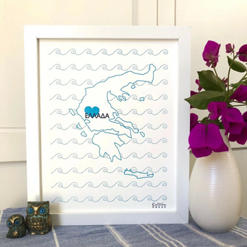 Greece Map - Limited Edition Letterpress Print