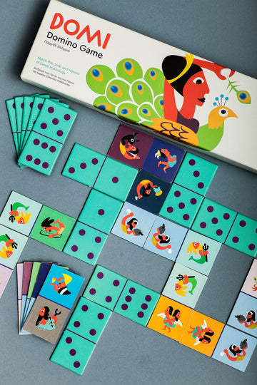 A dominoes game made of cardboard card stock. Helps kids learn Greek mythological creatures