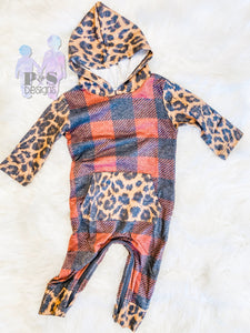 Cozy Cuddles Romper *Plaid & Leopard