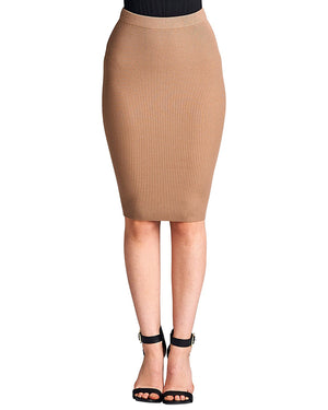 High Waist Ribbed pencil skirt