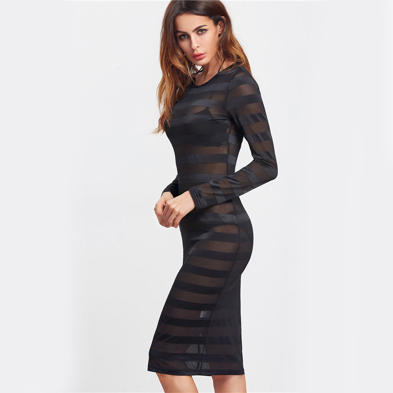 Sexy Black Mesh Bodycon