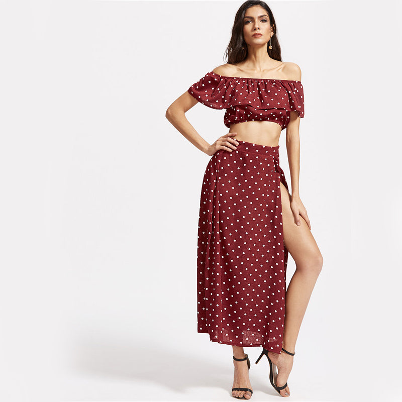 Polka Dot Two Piece Ruffle Vintage Crop Top With Maxi Skirt