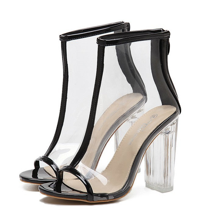 Clear Heel Transparent Boots