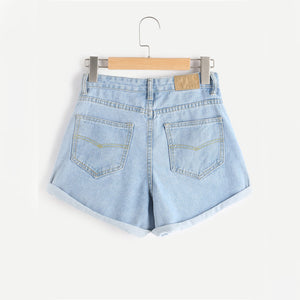 Floral Embroidered Rolled Hem Shorts