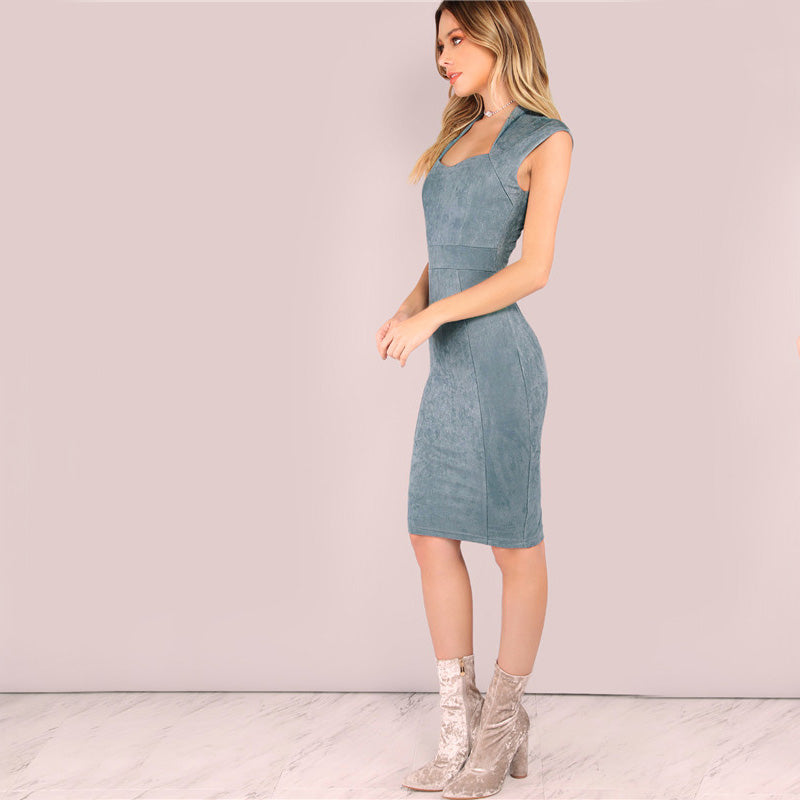 Suede Queen Anne Bodycon Dress