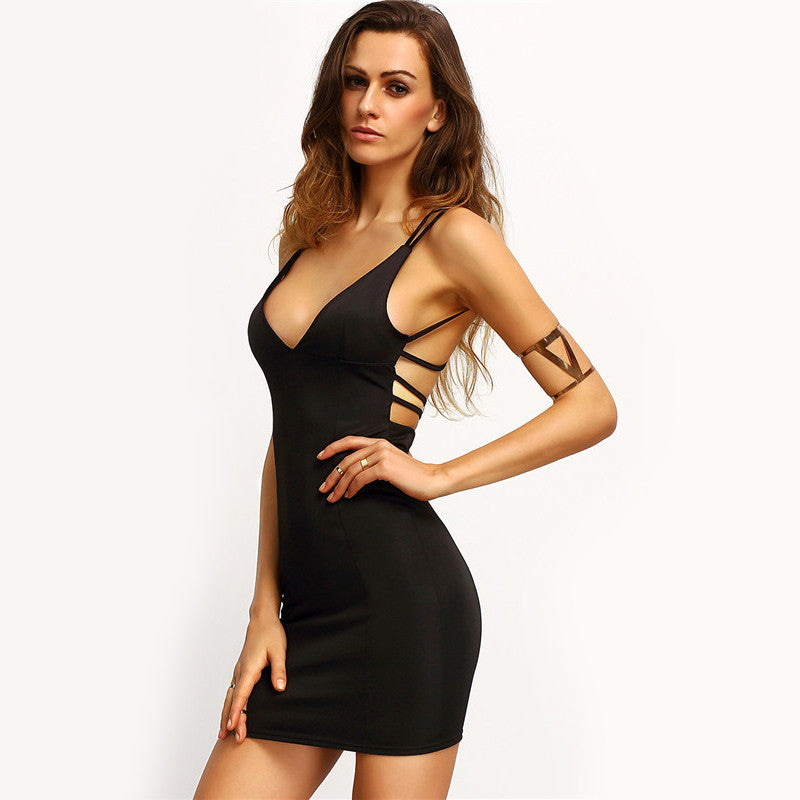 Hollow Out Black V Neck Mini Dress
