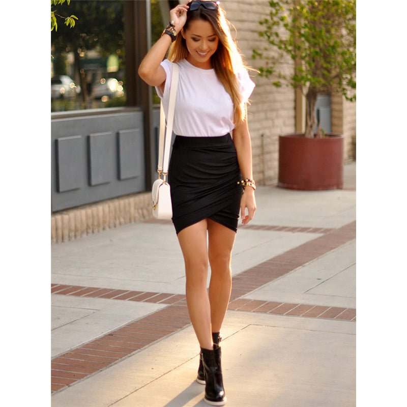 Ruched Mini Pencil Skirt