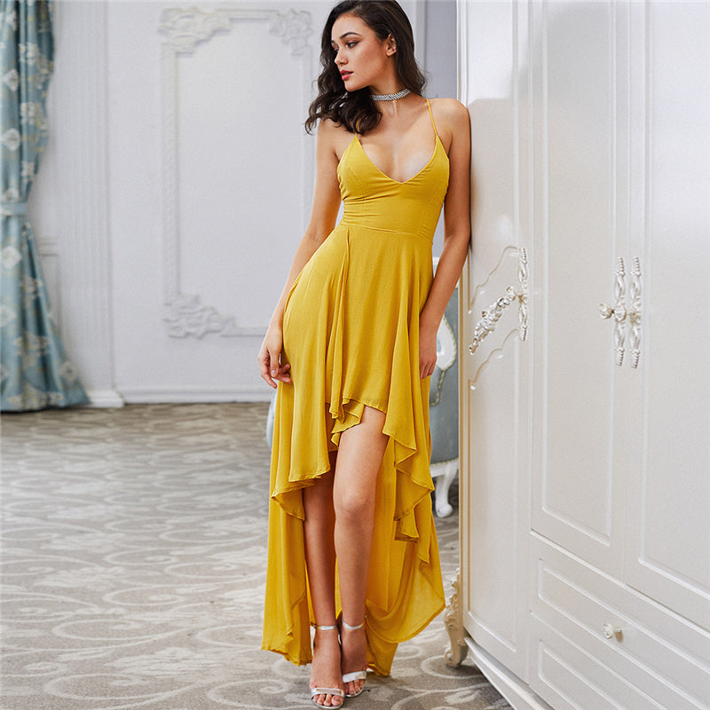 Low Draped Sexy Backless Party Dress