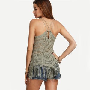 Fringed Hem Knitted Cami Top