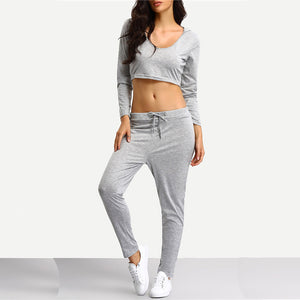 Grey Crop Hooded And Jogger Lounge Set