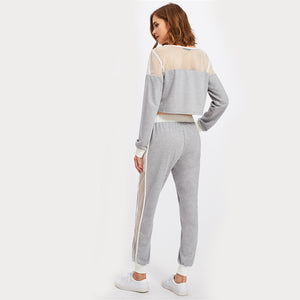 Heather Knit Sweatshirt And Pants Set