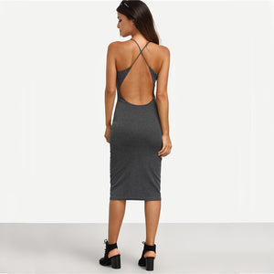 Crisscross Backless Sheath Dress