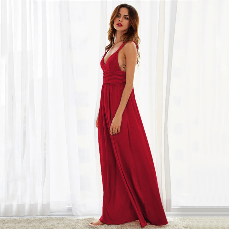 Triangle Lace Red Maxi Party Dress