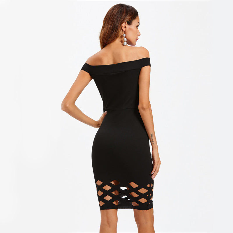 Black Laser Cut Dress