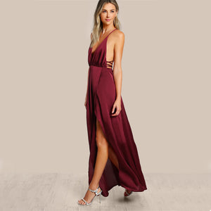 High Slit Wrap Satin Maxi