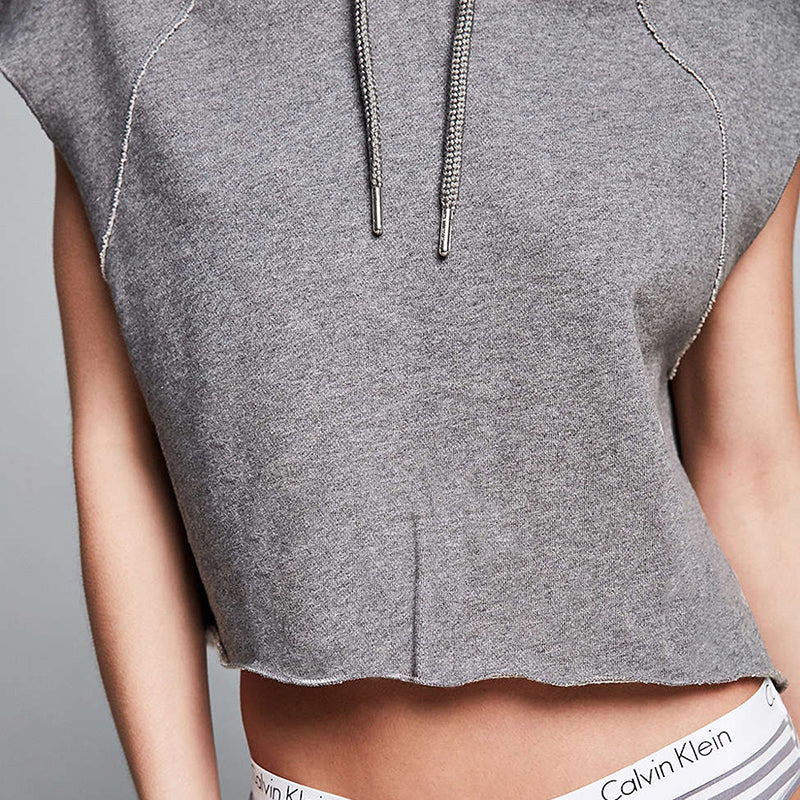 Solid Grey Cut Out Hoodie