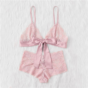 Pink Bow Tie Front Lace Bralette and Pantie Lingerie Set