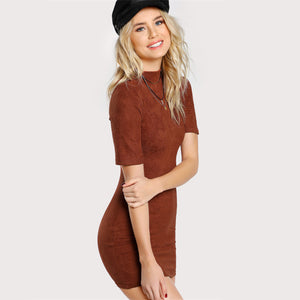 Form Fitting Suede Dress