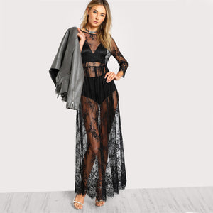 Sheer Floral Lace Maxi