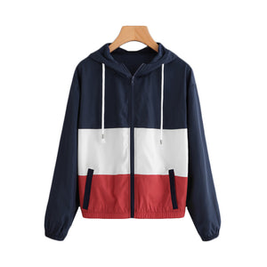 Cut And Sew Patchwork Hooded Windbreaker