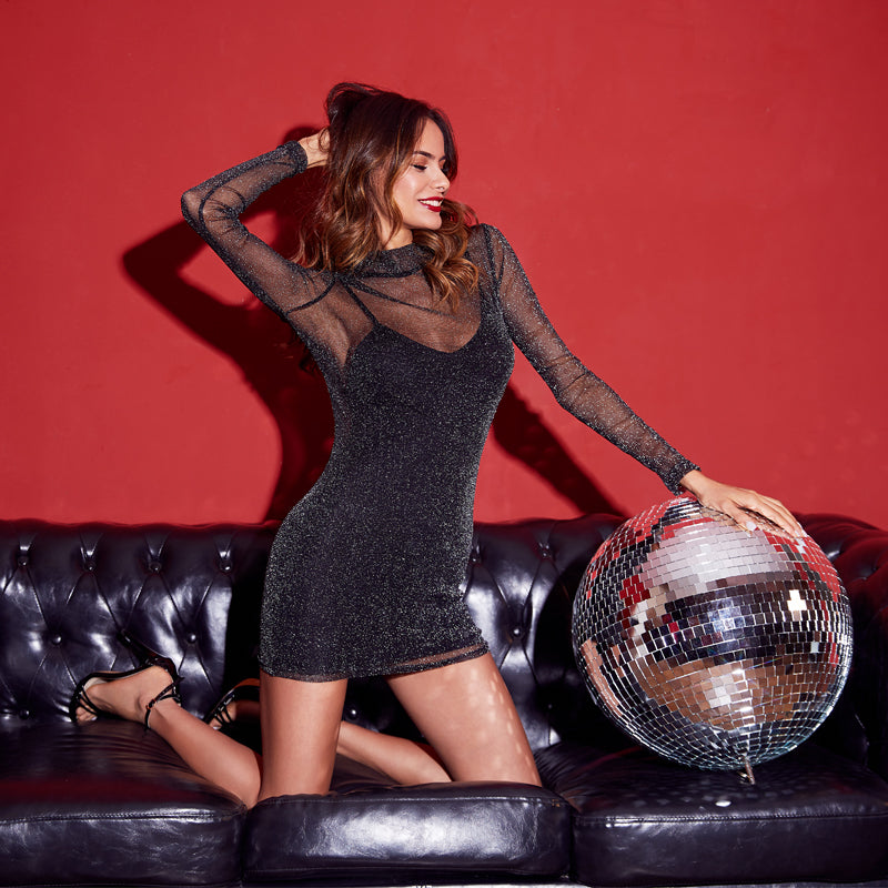 Glitter Mesh 2 In 1 Dress -  Black Overlay