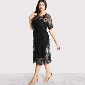 Curvy - High Waist Floral Lace Dress
